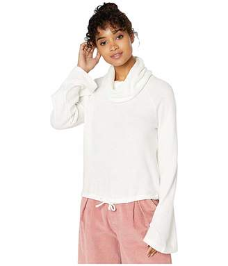 Cupcakes And Cashmere Melanie Waffle Knit Cowl Neck Raglan