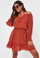 Missguided Plus Size Rust Tassel Bardot Midi Dress