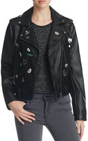Bagatelle Pins & Patch Faux Leather Moto Jacket