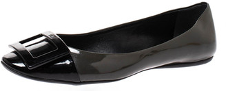 Roger Vivier Dark Grey/Black Patent Leather Gommette Ballet Flats Size 38.5