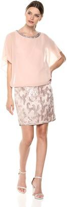 J Kara Women's Blouson Short Cocktail Beaded Dress