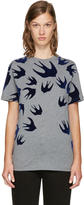 McQ by Alexander McQueen Grey and Navy Swallows T-shirt