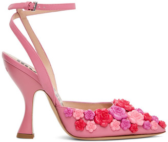 Moschino Pink Calfskin Sugar Flower Heels