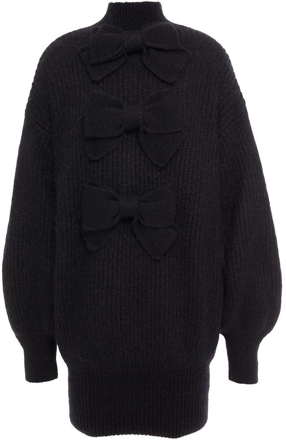 Zimmermann Bow-embellished Ribbed Mohair-blend Turtleneck Mini Dress
