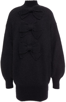 Zimmermann Bow-embellished Ribbed Mohair-blend Turtleneck Mini Dress