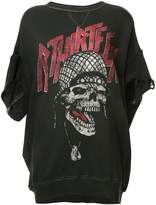 R 13 skull print distressed sweatshirt