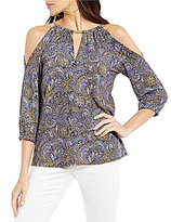 MICHAEL Michael Kors Aubrey Paisley Print Chain Neck Cold Shoulder Top