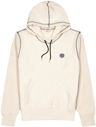 Kenzo Ecru hooded cotton-jersey sweatshirt