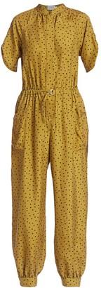 Tanya Taylor Francis Polka Dot Silk Jumpsuit