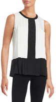 Calvin Klein Pleated Colorblocked Top