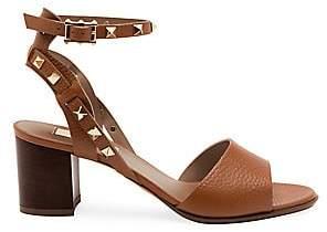 Valentino Women's Garavani Rockstud Double Ankle-Strap Leather Sandals