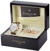 Thomas Earnshaw Men's Quartz Watch and Cufflink Set with White Dial Analogue Display and Brown Leather Strap Earnshaw Watch and Cufflink Set (TE-SET1)