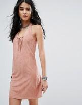 Glamorous Halterneck Suede Dress