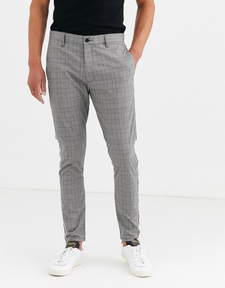 Brave Soul skinny fit checked trousers-Grey