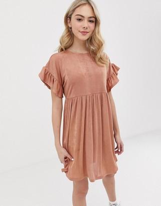 Asos Design DESIGN metallic frill sleeve smock dress-Pink