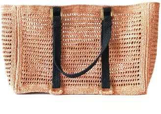 Maraina London Agnes Light Pink Large Raffia Beach Bag