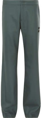 Off-White Off White Grey-Green Virgin Wool-Blend Suit Trousers