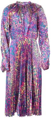 Vetements Pleated Fluorescent Leopard Print Dress