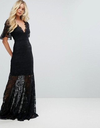 Asos Body Frock Bodyfrock Plunge Front Lace Fishtail Maxi Dress-Black