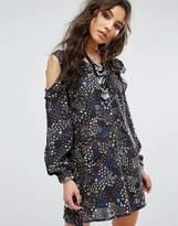 Glamorous Festival Cold Shoulder Dress In Ditsy Floral Print