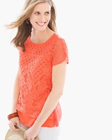 Chico's Lanny Lace Overlay Tee