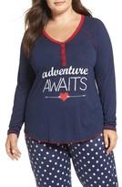 PJ Salvage Plus Size Women's Adventure Awaits Graphic Henley