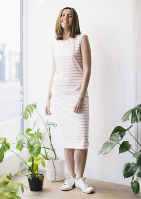 People Tree Pink Stripe Organic Cotton Relaxed Dress - 8 - Pink/White