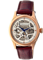 Heritor Automatic Nicollier Mens Skeleton Dial Leather-Rose Gold/Brown Watches