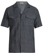 Bottega Veneta Cuban-collar chambray shirt