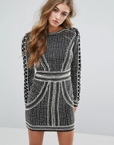 Missguided Peace + Love Pearl Embellished Mini Dress