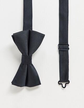 ASOS DESIGN satin bow tie in black