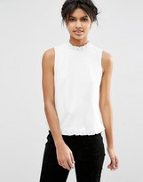 Asos Shell Top in Ponte with Ruffle Trim
