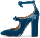 Aquazzura Sandy bow embellished pumps - women - Leather/Velvet - 35