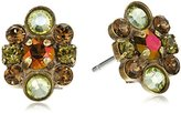 """Sorrelli Green Tapestry"""" Embellished Rounds Post Earring"""