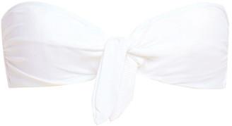 Onia Madeline Knotted Ribbed Bandeau Bikini Top