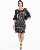 White House Black Market Phoebe Black & White Drama Sleeve Lace Shift Dress