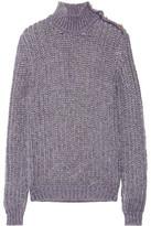 Balmain Metallic Button-Embellished Cable-Knit Turtleneck Sweater