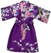 SunnyWorld Kids' Peacock Satin Rayon Kimono Robe Bathrobe Nightgown