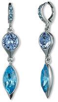 Givenchy Silver-Tone & Multi-Blue Swarovski Crystal Double Drop Earrings