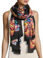 Givenchy Silk-Blend Kaleidoscope Scarf, Black