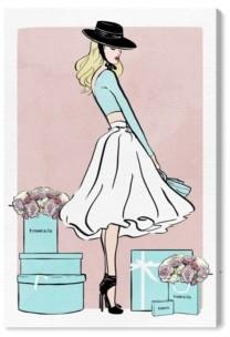 "Oliver Gal Floral Shopper Blush Canvas Art - 45"" x 30"" x 1.5"""