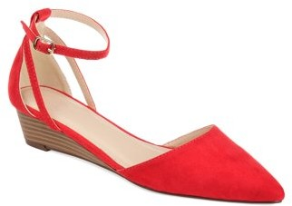 Brinley Co. Women's Pointed Toe Ankle Strap Sliver Wedge Shoe