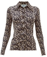Dodo Bar Or Paya Floral-print Stretch-jersey Shirt - Womens - Black White