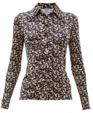 Dodo Bar Or Paya Floral Print Stretch Jersey Shirt - Womens - Black White