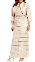 Jessica Howard Plus Lace-Bodice Tiered Jacket Dress