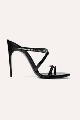 Saint Laurent Paris Minimalist Crystal-embellished Suede And Patent-leather Mules - Black