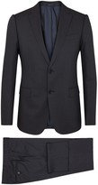Armani Collezioni M-line Midnight Blue Checked Wool Blend Suit