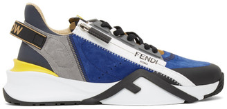 Fendi Blue and Grey Suede Flow Sneakers