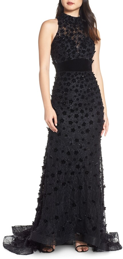 Mac Duggal 3D Lace Evening Dress with Train