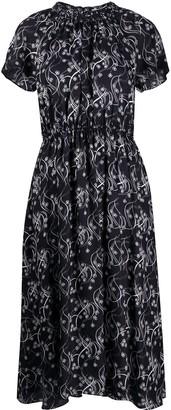 Kenzo Floral Print Ruched Midi Dress